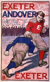 Exeter vs Andover. Vintage Football Advertisement Poster.